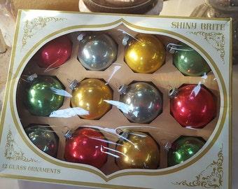 SHINY BRITE Classic Mid Century Colors Glass Christmas Ornaments RETRO Box of 12