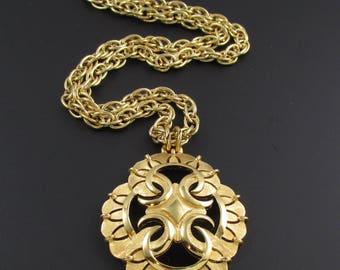 Trifari Necklace, Trifari Pendant, Trifari Statement Necklace, Gold Necklace, Gold Trifari Pendant, Gold Pendant, Quatrefoil Pendant