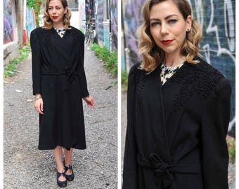 Vintage 1930's Black Wool Coat with Soutache Detailing/ 30's Fine Wool Belted Wrap Coat Size Large to X-large
