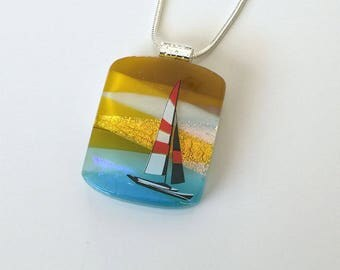 Dichroic Glass Jewelry - Sailboat and Stunning Sky - Fused Glass Necklace - Dichroic Glass Pendant – 48-17