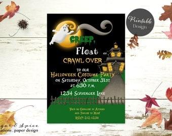 Halloween Invitation, Kids Halloween Party Invitation, Birthday Halloween Invitation Printable, Costume Party Invitation