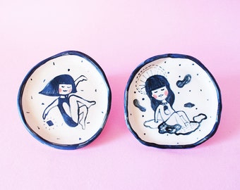 Girl Round Ceramic Plate, Girl Round Hand-Built Pottery Plate, Girl Round Trinket Dish