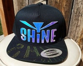 Shine Flat Brim Hat in Black or Navy Blue with Super Reflective Writing and Snap Back Fit