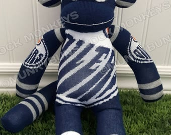 CLEARANCE - Hockey Sock Monkey Made from Edmonton Oilers Socks - optional Name Embroidered