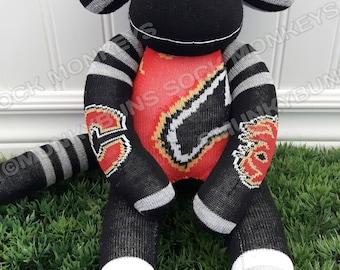 CLEARANCE - Hockey Sock Monkey Made from Calgary Flames Socks - optional Name Embroidered