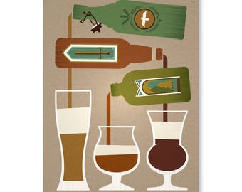 "Pouring Bottles No. 2, 9"" x 12"" on 100% Recycled French Paper Speckletone Kraft 100lb. Cover"