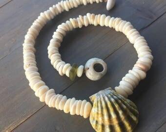Natural puka necklace with rare Hawaiian moonrise shell pendant