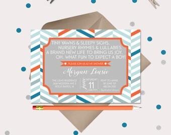Nursery Rhyme & Lullaby Baby Shower Invitation · Baby Boy Shower Cards · Modern Geometric Print · Advice Card Add on