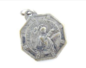 Vintage Saint Rita of Cascia Catholic Medal - KARO Signed - Patron Saint of Mothers - Marriage Saint Religious Charms - 030