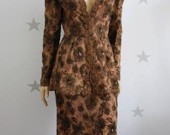 vintage suit, vintage tailleur, vintage woman suit, vintage nighth suit