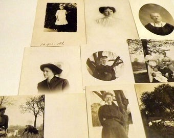 9 sepia postcards pictures of women from 1910's