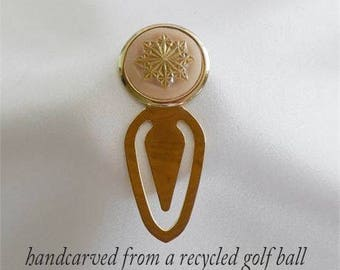 Unique Bookmark Hand Carved Golf Ball Golf Gift For Women Golfer Metal Bookmark Book Lover Gift