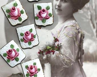 Vintage Guilloche Cabochons, Enamel Covers, Vintage Findings, Rare Findings, Enameled Cabochons, Square NOS Rose Floral Cloisonné #G3E
