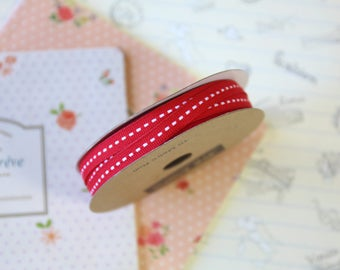 Scarlet Red skinny stitched ribbon