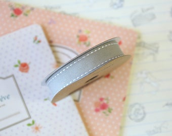 Grey Stitched Grosgrain ribbon
