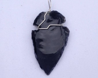 Black Obsidian Wire Wrapped Arrowhead with Sterling Silver Wire