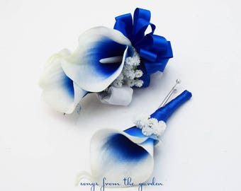 Real Touch Royal Blue Picasso Calla Boutonniere and Corsage - Customize for Your Wedding Colors - Wedding Prom Boutonniere and Corsage