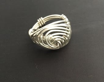 Sterling Silver Wire Wrapped Ring Hammered Ring Statement Ring