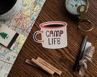 Outdoorsy Camp Mug Sticker, Camp Life, Vinyl Stickers, Adventure Sticker, Camp Vibes, Laptop Decal, Hydroflask Sticker, Gifts Under 5