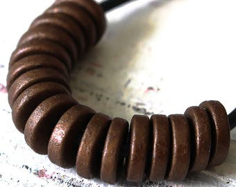 8mm Mykonos Beads - 8mm Washer Beads - Jewelry Making Supply - Greek Ceramic Beads - Antique Dark Bronze Matte - Choose Your Amount