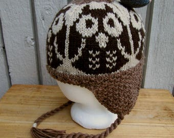 Owl Ear Flap Hat with Mouse Tassel Hand Knit Wool