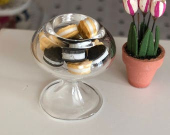 Miniature Glass Pedestal Bowl, Style 2, Dollhouse Miniature, 1:12 Scale, Dollhouse Decor Accessory, Crafts, Topper