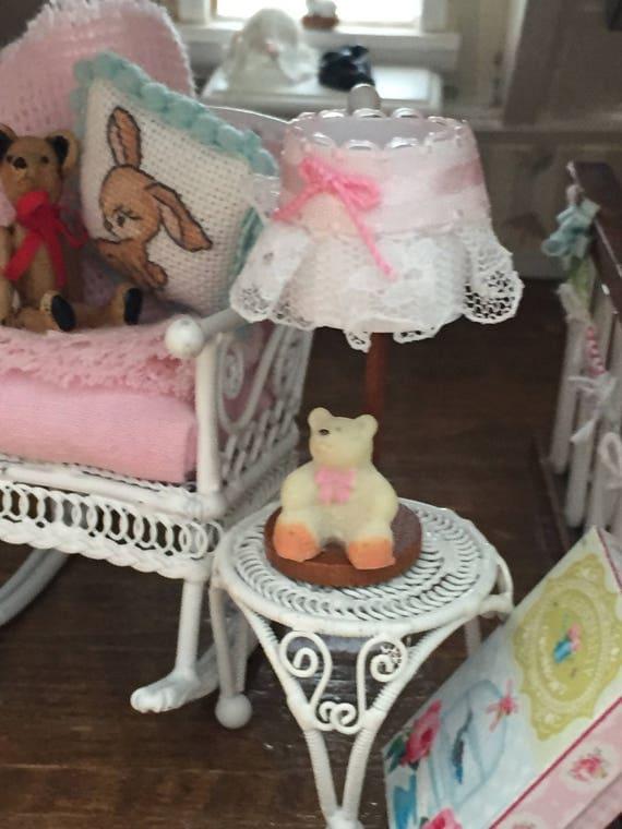 Miniature Lamp, Teddy Bear Nursery Lamp, Lace Shade, Dollhouse Miniature, 1:12 Scale, Mini Lamp With Teddy Bear, Dollhouse Accessory