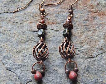 Copper dangle earrings - copper cage earrings - picasso czech glass - red and black - boho - bohemian - copper jewelry
