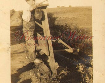 Young Barefoot Boy with Cane Pole Fishing on Bridge M02903 Vintage Photograph