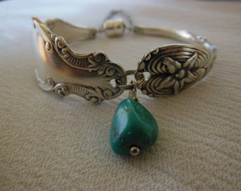 Star Fish  Antique Spoon  Bracelet   7.5 inch With Turquoise Gemstone