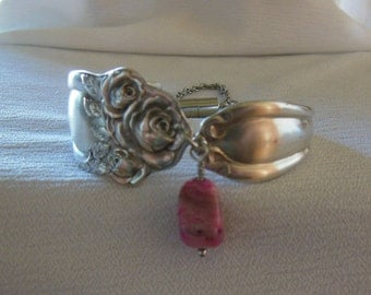Antique Rose Spoon Bracelet   7.75 inch With Agate Gemstone