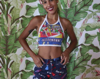 Vintage Novelty Denim Shorts / 70's Shorts / Red White and Blue Festival Skirt / Independence Day / Bicentennial /July 4th /Star Print /1976