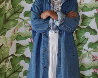 Denim Jacket Duster / Vintage 80's Jean Jacket / Avant Garde / Long Jacket / Corduroy and Jean Jacket / Levi's Denim Jacket / Vintage Duster
