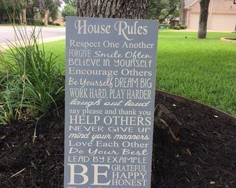 House Rules Sign ~Wedding Anniversary Gift ~Family Values Custom Wood Sign ~Family Rules Wooden Sign~Christian Values Sign Living Room Decor