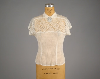 1950s sheer white blouse • vintage 50s top •  lace Peter Pan collar