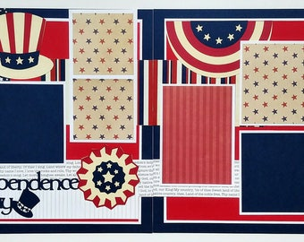 Premade 12x12 scrapbook layout - 12x12 Fourth of July scrapbook layout - 12x12Premade scrapbook page - Independence Day scrapbook