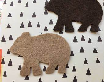 Wool Felt Small Bears-Applique-Penny Rug- Primitive Stitching Quilting Embellishments-Needle Felt-Wool-DIY Crafts-Illustrated Art Faith Tag