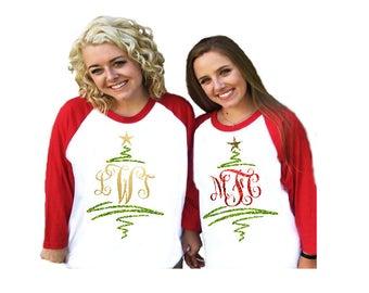 monogrammed christmas shirt raglan sleeved