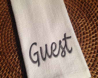 Guest or Your Name - Personalized (Choose Towel Color, Font Style and Thread Color) - Fingertip Velour Bathroom Towel 11x18 - JD Designs