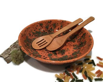 Large Serving Bowl in Amber Brown and Green
