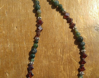 Moss Agate and Garnet Necklace