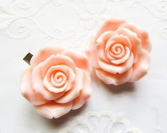 Big Pink Rose Hair Clips / Flower Hair Clips / Sweet Lolita / Pretty / Kawaii / Hair Clips