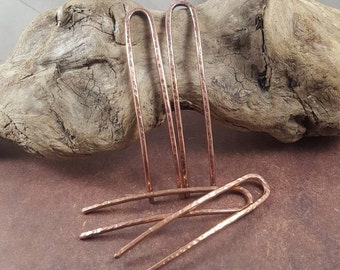 Copper Hair Pins, Set of Two Hammered Copper Hair Jewelry.  Forged Hair Accessories, Copper Bun Pins, Chignon Hair Pins, French Pins.