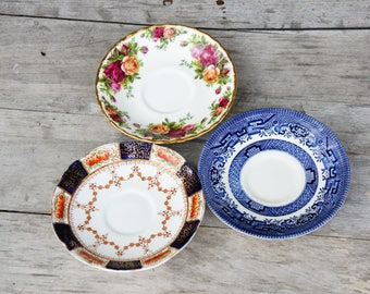 Vintage Missmatched Floral And Blue willow Saucers/Shabby chic/Bohemian chic/Afternoon Tea