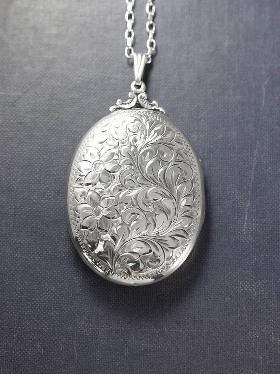 1940's Birks Sterling Silver Locket Necklace, Vintage Hand Engraved Extra Large Oval Pendant - Celebrating Love