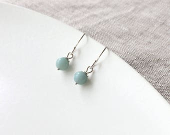 Turquoise earrings - sterling silver and amazonite earrings - bohochic - delicate earrings - bohemian jewelry - aqua - gemstone - drop