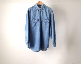 VINTAGE faded denim NIRVANA 90s mens vintage shirt long sleeve twin peaks button up shirt