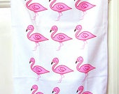 Flamingo Tea Towel, Flamingo Cloth, Birds, Pink Tea Towel, Gifts For Mum, For Her, Kitchen Accessories