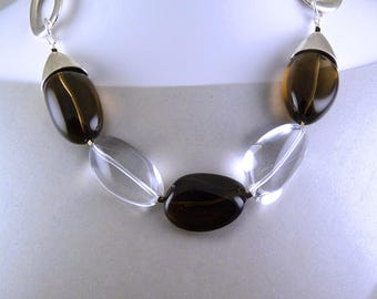 Smoky Quartz Shiny Statement Necklace. Clear and Brown Oversized Beads.