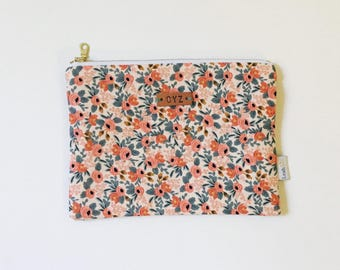 Rifle Paper Co Zipper Pouch, Small Makeup Pouch, Peach Rosa Zipper Bag, Personalized Pouch, Monogram Clutch, Personalized Bridesmaid Gifts